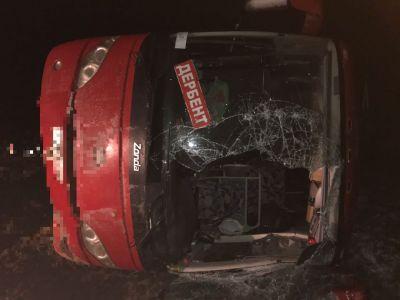 На территории Георгиевского района опрокинулся рейсовый автобус