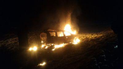 Под Ставрополем сгорел автомобиль Лада Largus